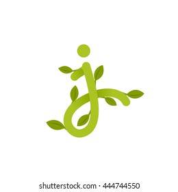Letter J logo with green leaves. Green vector design for banner, presentation, web page, app icon, card, labels or posters.