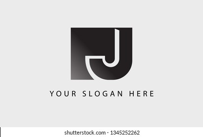 Letter J logo with square symbol icon