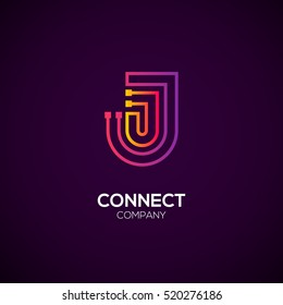 Letter J logotype Purple and Orange color,Technology and digital abstract dot connection vector logo