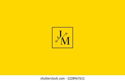 LETTER J AND M FLOWER LOGO WITH SQUARE FRAME FOR LOGO DESIGN OR ILLUSTRATION USE
