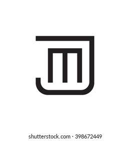 letter J and M monogram square shape logo black