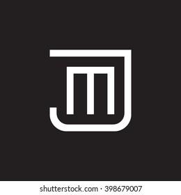 letter J and M monogram square shape logo white black background