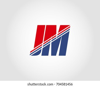 Letter J and M red and blue combination logo