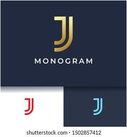 Letter J monogram logo design,minimal luxury logo template