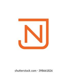 letter J and N monogram square shape logo orange