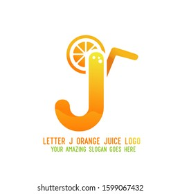 Letter J Orange Juice Logo Template Design Vector Illustration on White Background - Fresh Drink and Beverage Logo for Company - Cafe and Restaurant - Shutterstock ID 1599067432