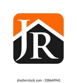 letter j and r with symbol of home. logo vector.