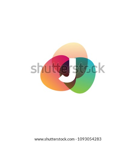 Letter J Retro Color Logo Template Stock Vector Royalty Free