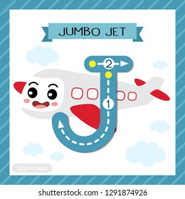 Letter J uppercase cute children colorful transportations ABC alphabet tracing flashcard of Jumbo Jet for kids learning English vocabulary and handwriting Vector Illustration.