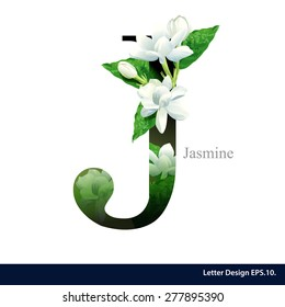 Letter J  vector alphabet with Jasmine flower. ABC concept type as logo. Typography design