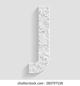Letter J. Vector Floral Invitation cards Decorative Font
