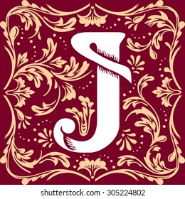 letter J vector image in the old vintage style