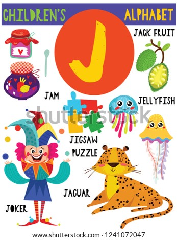 Letter J Cute Childrens Alphabet Adorable Animals Stock Vector
