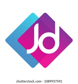 Letter JD logo with colorful geometric shape, letter combination logo design for creative industry, web, business and company.