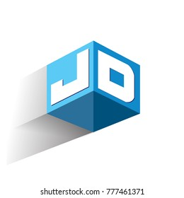 Letter JD logo in hexagon shape and blue background, cube logo with letter design for company identity.