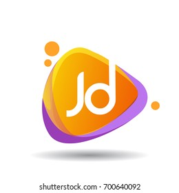 Letter JD logo in triangle splash and colorful background, letter combination logo design for creative industry, web, business and company.