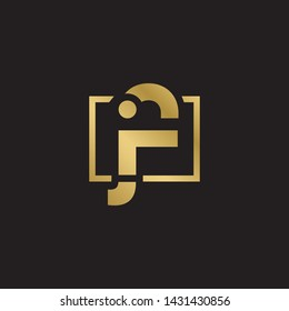 Letter jf linked lowercase logo design template elements. Gold letter Isolated on black  background. Suitable for business, consulting group company.