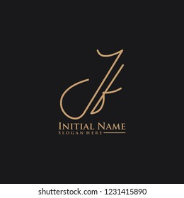 Letter Jf Logo. Initial Letter Design Vector Luxury Colors