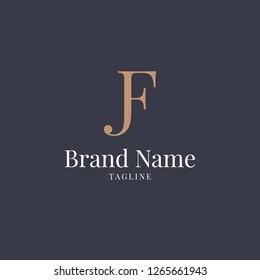 Letter JF Logo Luxury Old Navy Gold