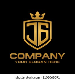 Letter JG initial with shield and crown, Luxury logo design vector