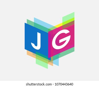 Letter JG logo with colorful geometric shape, letter combination logo design for creative industry, web, business and company.
