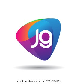 Letter JG logo with colorful splash background, letter combination logo design for creative industry, web, business and company.