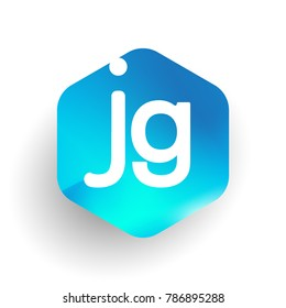 Letter JG logo in hexagon shape and colorful background, letter combination logo design for business and company identity.