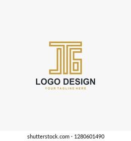 Letter JG monogram logo design vector