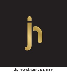 Letter jh linked lowercase logo design template elements. Gold letter Isolated on black  background. Suitable for business, consulting group company.