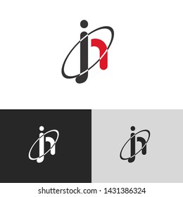 Letter jh linked lowercase logo design template elements. Red letter Isolated on black white grey background. Suitable for business, consulting group company.
