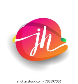 Letter JH logo with colorful splash background, letter combination logo design for creative industry, web, business and company.