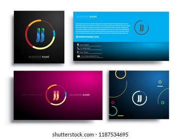 Letter JJ logotype with colorful circle, letter combination logo design with ring, sets of business card for company identity, creative industry, web, isolated on white background.