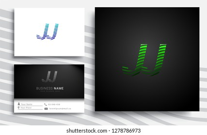 Letter JJ logotype with colorful circle, with striped composition letter, sets of business card for company identity, creative industry, web.