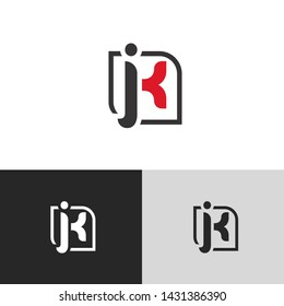 Letter jk linked lowercase logo design template elements. Red letter Isolated on black white grey background. Suitable for business, consulting group company.