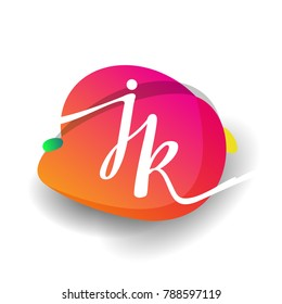 Letter JK logo with colorful splash background, letter combination logo design for creative industry, web, business and company.