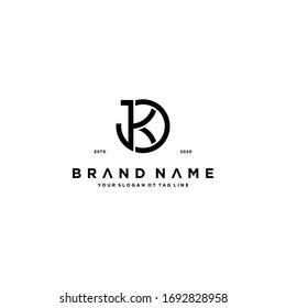 letter JK logo design vector template
