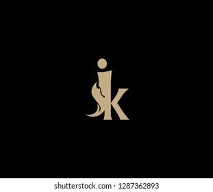 Letter JK lowercase elegant gold flame swoosh monogram logo design