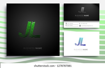 Letter JL logotype with colorful circle, with striped composition letter, sets of business card for company identity, creative industry, web.