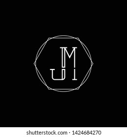 Letter JM MJ J M Clean and Minimal Initial Based Logo Design