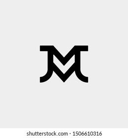 Letter JM MJ M J Monogram Logo Design Minimal Icon