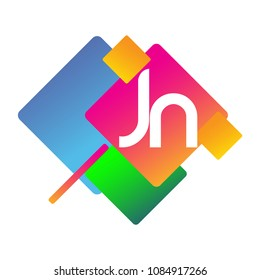 Letter JN logo with colorful geometric shape, letter combination logo design for creative industry, web, business and company.