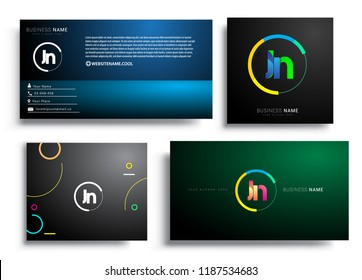 Letter JN logotype with colorful circle, letter combination logo design with ring, sets of business card for company identity, creative industry, web, isolated on white background.