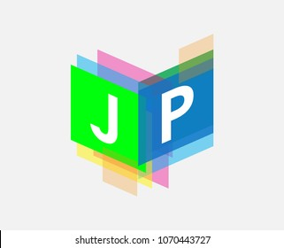 Letter JP logo with colorful geometric shape, letter combination logo design for creative industry, web, business and company.