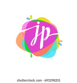 Letter JP logo with colorful splash background, letter combination logo design for creative industry, web, business and company.