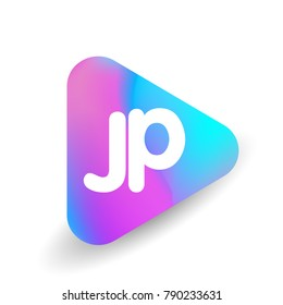 Letter JP logo in triangle shape and colorful background, letter combination logo design for business and company identity.