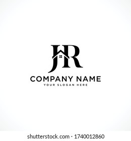 Letter JR with roof, simple logo icon design vector