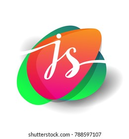 Letter JS logo with colorful splash background, letter combination logo design for creative industry, web, business and company.