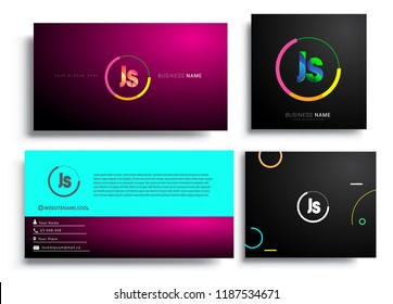 Letter JS logotype with colorful circle, letter combination logo design with ring, sets of business card for company identity, creative industry, web, isolated on white background.