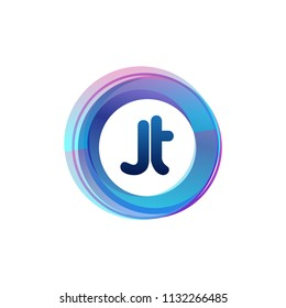 Letter JT logo with colorful circle, letter combination logo design with ring, circle object for creative industry, web, business and company.