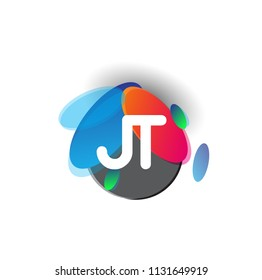 Letter JT logo with colorful splash background, letter combination logo design for creative industry, web, business and company.
